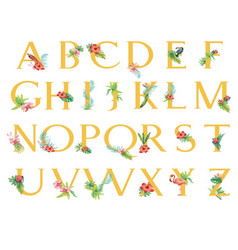 Tropical alphabet san-serif font typographic vector
