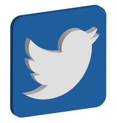 Twitter logo isometric icon vector