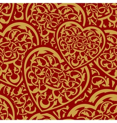 valentine day gold seamless wallpaper pattern with vector image