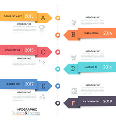 vertical timeline with 6 arrow-like elements thin vector image