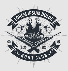 vintage style hunt club logo with hunting rifles vector image