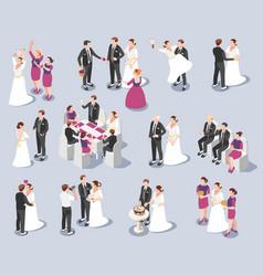 wedding isometric icons vector image