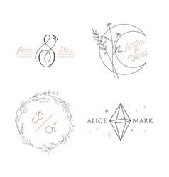 wedding logo luxury collection monogram elegant vector image