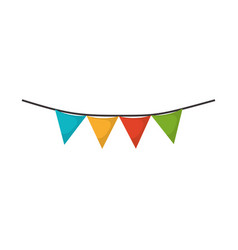 white background with colorful festoons in shape vector image