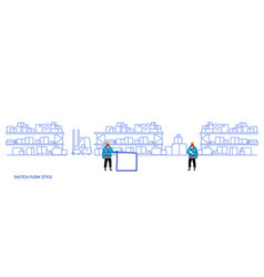 workers in uniform storage logistic delivery vector image