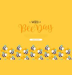 world bee day web template cute bumblebee cartoon vector image
