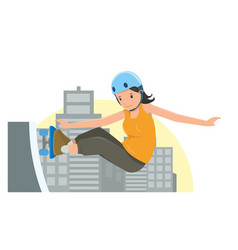 Young girl jumping on her skateboard in flat style vector