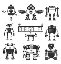 Funny Robots Silhouette vector image