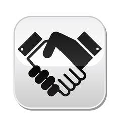 Handshake button - agreement business vector image
