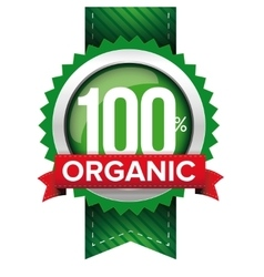 Hundred percent organic green ribbon vector