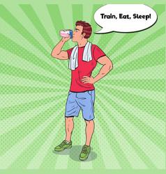 Pop art bodybuilder drinking protein shake vector