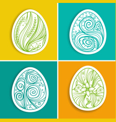 set of stickers with easter eggs with fantasy vector image