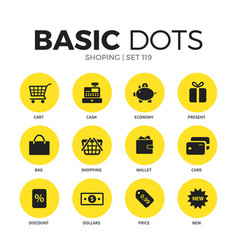 shoping flat icons set vector image vector image