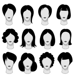 Woman hairstyle black hair silhouettes vector image