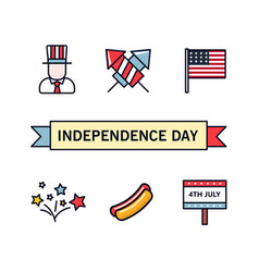 4th july patriotic icons independence day of vector image vector image