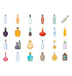 bottle icon set cartoon style vector image