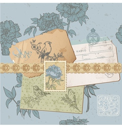design elements - Vintage Bird and Peony Set vector image vector image