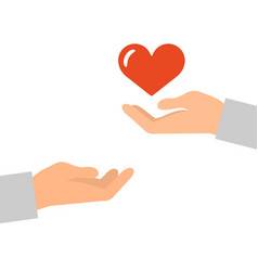 hands with a red heart icon vector image