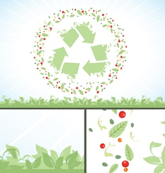 Recycling symbol green flower leaves vector image vector image