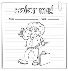 A worksheet with a man vector image vector image
