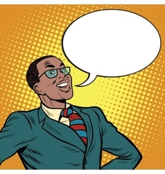African American businessman says the comic bubble vector image vector image
