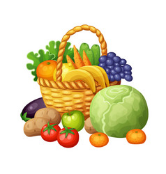 fruits and vegetables in the basket vector image