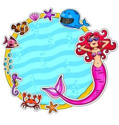 mermaid frame vector image