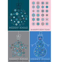 merry xmas and happy new year cards set vector image vector image