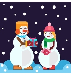 snowmen with christmas gift and Snow girl vector image