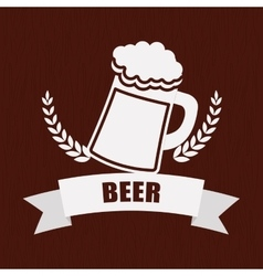 beer mug glass wheat pub label vector image