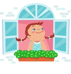 little girl day dreaming at the window vector image vector image