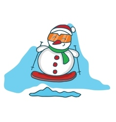 Snowman with surfing board cartoon vector