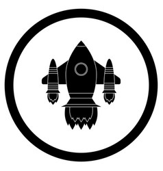 space shuttle black icon vector image vector image