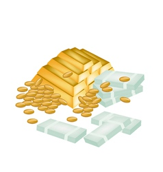 A Pile of Money Coin and Gold vector