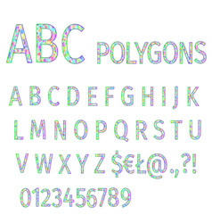 alphabet polygons multi colored mosaic font vector image