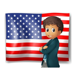 An American flag with a boy vector image