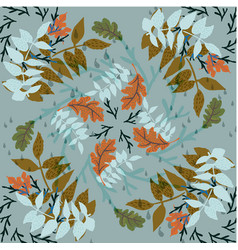 Autumn foliage hand drawn pattern vector