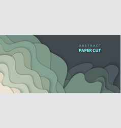background with dark green color paper cut shapes vector image
