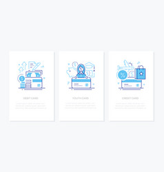 banking operations - line design style banners set vector image