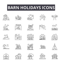 barn holidays line icons for web and mobile design vector image