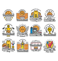 basketball items icons sport shop and school vector image