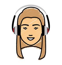 Beautiful woman head with earphones avatar vector