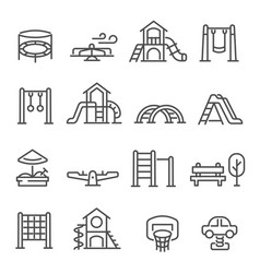 Big set playground equipment thin line icons vector