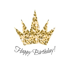 Birthday glitter crown icon vector