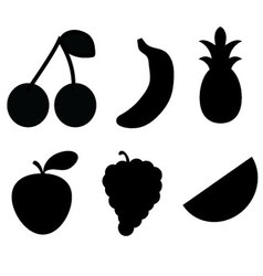 Black fruit Silhouettes vector