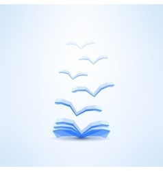 Book icon with flying pages made in low poly vector