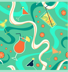bright pattern with cocktails citrus and waves vector image