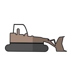 bulldozer truck construction sign shadow vector image
