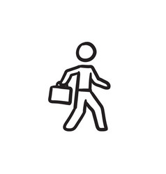 businessman walking with briefcase sketch icon vector image