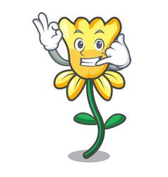 Call me daffodil flower mascot cartoon vector